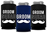 Your Dream Party Shop Groom and Grooms Squad Bachelor Party Can Coolers, Set of 12 Beer Can Coolies, Perfect Bachelor Party Decorations and as Grooms Men Gifts (Navy Blue)