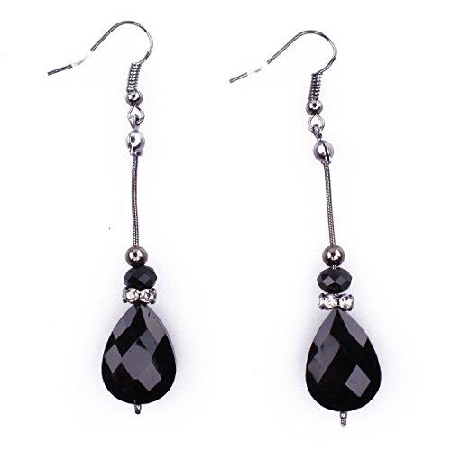 Boucles d'oreilles Filament perle noire Coindesfilles