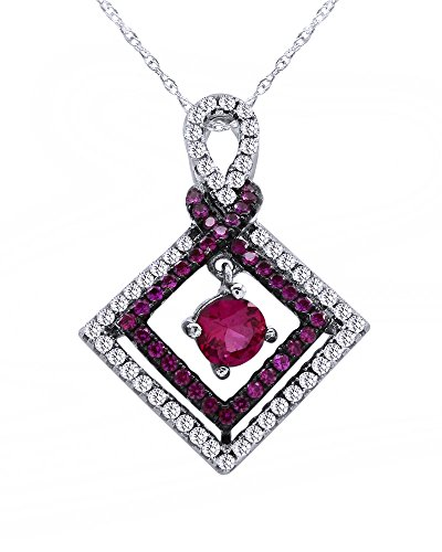(Wishrocks Round Cut Simulated Pink Sapphire & White CZ Sterling Silver Square Pendant Necklace)
