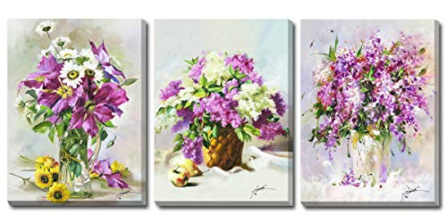 Hongwu Canvas Wall Art 3 Piece Purple Flowers Painting Modern Canvas Prints Floral in a Vase Pictures Stretched Ready to Hang for Home Wall Decor 12x16inch