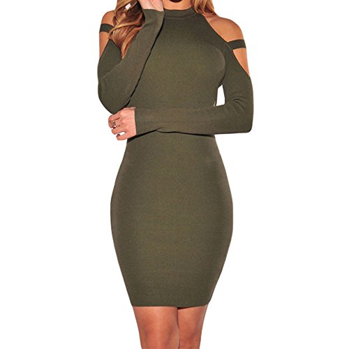 SEBOWEL Womens Knit Ribbed Cold Shoulder Long Sleeve Mini Bodycon Party Dress