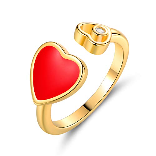 Barzel 18K Gold Plated Created Crystal & Enamel Heart Open Ring (Red, 6)