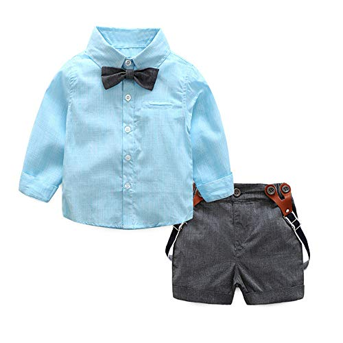 Xturfuo 2Piece Infant Baby Boys Gentleman Outfit Set, Bowknot Stripe Shirt Suspenders Shorts Overalls, Party Suit (70-100) (3-6 Months, Blue)