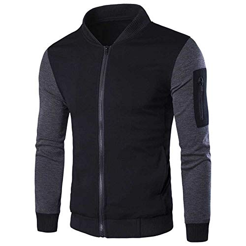 Kemilove Men's Autumn Casual Long Sleeve Color Mathing Zipper Jacket Top Blouse by Kemilove