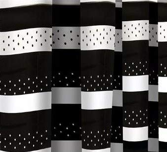 71 x 71 Inch   100/% Polyester With Matching Rings Black Stripe Comfort Valley Shower Curtain Printed Mould and Mildew Resistant 180 x 180 cm
