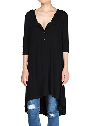 - Mordenmiss Women's New Half Sleeve High Low Loose Tunic Tops Black-XL