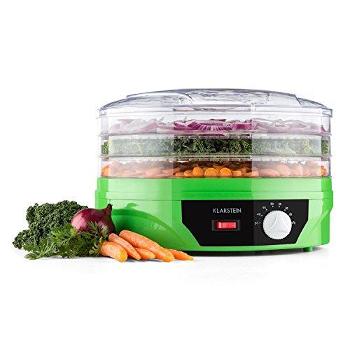 Klarstein Sunfruit Dörrautomat Dehydrator Früchtetrockner Dörrgerät Obsttrockner Dörrapparat (260W, 3 Etagen, Temperatur stufenlos regelbar) grün
