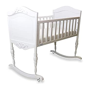 Image of Green Frog, Antique White Cradle | Handcrafted Elegant Wood Baby Cradle | Premium Pine Construction | Rocking and Stationary Features Baby