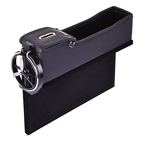 (Catinbow Car Pocket Organizer, PU Leather Car Seat Side Storage Box Multi-Functional Console Side Gap Filter Organizer with Coin Collector and Cup Holder - Passenger's Side (Black))