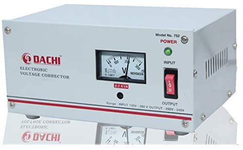DACHI 0.5 KVA Voltage STABILIZER for Single/Double Door Refrigerator Upto 350 LTR/Air Cooler/Computer from Input(130V… 2021 August 0.5 KVA Voltage Stabilizer For Single/Double Door Refrigerator Upto 350 LTR. From Input (130V-280V) With Overload Protection (100% COPPER); OUTPUT - (200V-240V) Once Installed then No More Worries Of Power Fluctuations. Features - 65MM Analog Meter to Show Input and Output Voltage; Built-in Thermal Overload Protection with Auto cut-off - Keeps the stabilizer as well as the connected appliance safe from high temperature burnout.