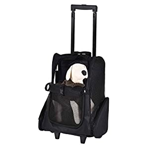 SRI Oxford Pet Carrier Puppy Trolley Rolling Backpack Travel Wheels Luggage Bag for Cats/Small Dogs, Blue