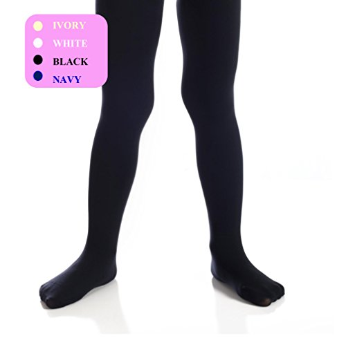 Top Fit Girl's Tights - Kid's Lycra Opaque, Microfiber Tights - Dance, School, Uniform - Black, White, Navy, and Ivory -
