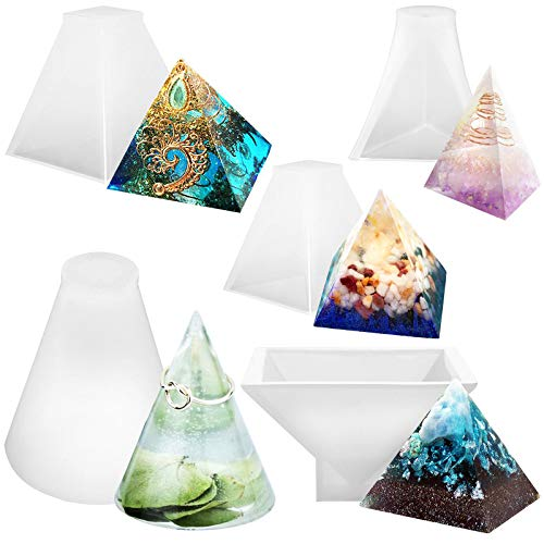 - Funshowcase Assorted Pyramid and Cone Prism Resin Epoxy Mold for Jewelry, Polymer Clay, Soap Making, Cabochon Gemstone Crafting Projects 5-Count