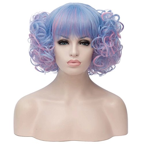 Kadiya Blue Cosplay Wig Short Curly Wave Hair Lolita Comic Con Costume Wigs