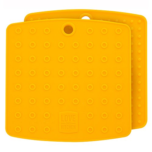 """Premium Silicone Trivet Mats/Hot Pads, Pot Holders, Spoon Rest, Jar Opener & Coasters - Our 5 in 1 Kitchen Tool is Heat Resistant to 442 °F, Thick & Flexible (7"""" x 7"""", Mustard Yellow, Set of 2)"""