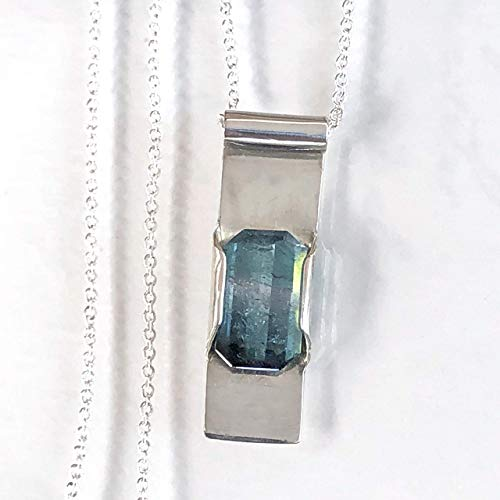 Blue Tourmaline Necklace, Bicolor Tourmaline Necklace, Blue Gray Tourmaline, Rare Brazilian Specimen - Solid Sterling Silver