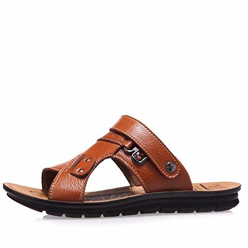 vera pelle sandali Uomini Il nuovo Uomini Spiaggia scarpa estate Tempo libero traspirante gioventù sandali Antiscivolo ,giallo,US=9,UK=8.5,EU=42 2/3,CN=44