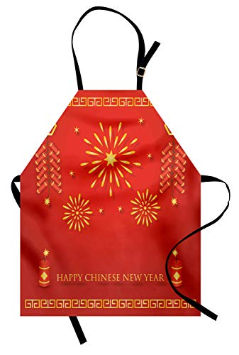Ambesonne Chinese New Year Apron, Celebration with Fireworks and Firecrackers Oriental Culture, Unisex Kitchen Bib Apron with Adjustable Neck for Cooking Baking Gardening, Vermilion and -