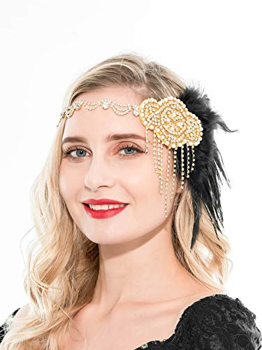 1920s Accessories Black Gold Flapper Headband 1920s Headpiece Great Gatsby Costume Accessories (Black and -