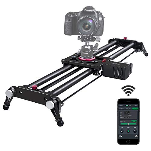 """Camera Slider, ASHANKS Bluetooth APP Motorized Electric Tracking Track Dolly Slider Carbon Fiber Rail for DSLR Camera Time Lapse and Follow Focus Video Shot,120 Degree Panoramic Shot, 31"""" …"""
