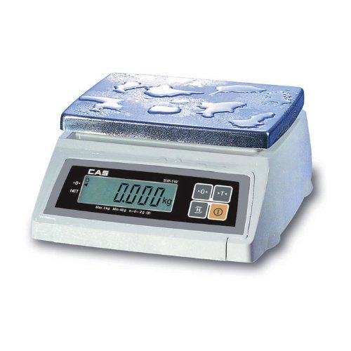 CAS SW-50 (50LB) SW-1W Series Washdown Portion Control Bench Scale, 50lb Capacity, 0.02lb Readability