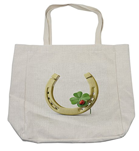 Lunarable Horseshoe Shopping Bag, Four-Leaf Clover Ladybug Botanic Garden Park Superstitious Patrick Holiday, Eco-Friendly Reusable Bag for Groceries Beach Travel School & More, (4-h Horse Costume Ideas)
