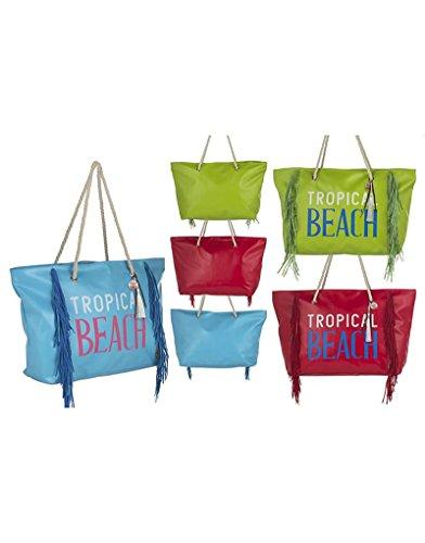 Strandtasche mit Fransen Design Tropical Drei Farben Haus und mehr–BLAU