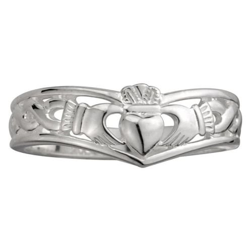 Solvar Claddagh Ring Ladies Wishbone Sterling Silver Sz 8