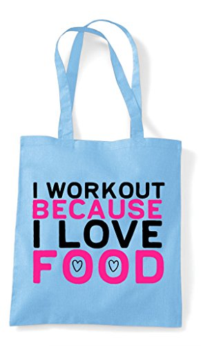 I Shopper Tote Because Sky Bag Workout Blue Food Love wxg47qAwv