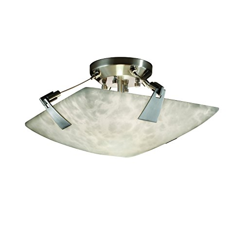 Justice Group Design Clips (Justice Design Group Lighting CLD-9630-25-NCKL Clouds Two Light Semi-Flush Mount with Tapered Clip)