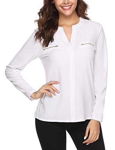 (Aibrou Womens V Neck Long Sleeve Zip up Fake Pockets Casual Work Shirt Blouse Tops White)