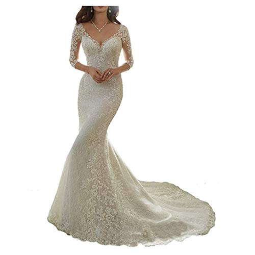 Mermaid V-neck Court Train - Cardol Flower Appliques Mermaid Half Sleeves Lace Wedding Dresses Bridal Wedding Gowns