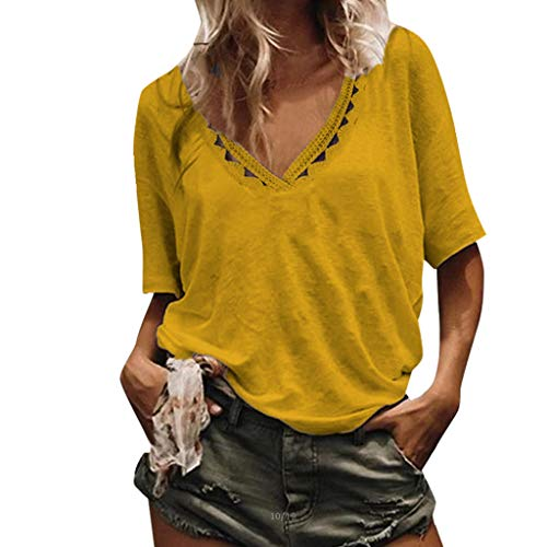 Women's Sexy Tops 2019,Fashion Womens Casual Hollowing Out Short Sleeve Tops Loose Lightweight Blouse Under 10 Dollars Yellow -
