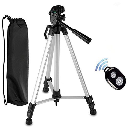 Camera Tripod, PEYOU 54'' inch Lightweight Portable Travel Aluminum Tripod Bag, Smartphone Holder Mount, Bluetooth Remote Shutter Compatible iPhone,Samsung,Canon,Nikon,Sony,DSLR Camera etc by Peyou
