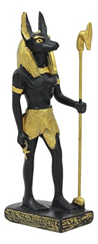 Ebros Egyptian Classical Deities Miniature Figurine Gods of Egypt Dollhouse Miniature Statue Legends of Ancient Egypt Educational Sculpture Collectible (Anubis God of The Dead) ()