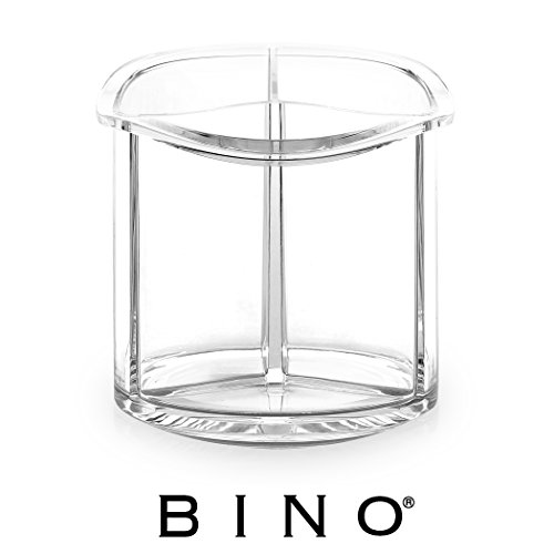 BINO The Triad' 3 Compartment Acrylic Makeup and Jewelry Organizer, Clear and Transparent Cosmetic Beauty Vanity Holder Storage, Clear