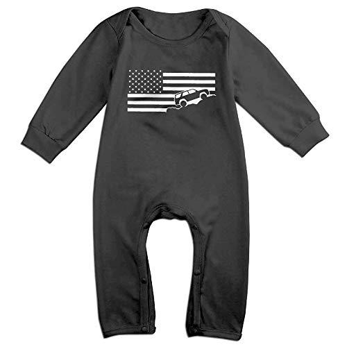 USA Flag 4Runner Long Sleeve Baby Bodysuits Cotton Toddler Onesies