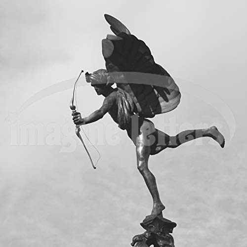 Imagine Letters Eros Statue on top of The Shaftesbury Memorial Fountain in Piccadilly Circus, London. Art Print 12 X 12 - with Optional Frame 18 X18. (Art Print Black & White)