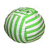 VORCOOL Kid's Stuffed Animal Storage Bean Bag Chair with Extra Long Zipper Carrying Handle Large Size (Green Stripe)