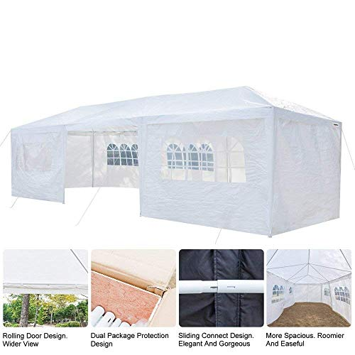 VINGLI 10' x 30' Outdoor Canopy Tent,w/8 Removable Sidewalls,Upgraded Thicken Tube Stable,Sun Shelter Shed Anti-UV,Party Wedding Event Gazebo Pavilion Garden Patio Pool Tent