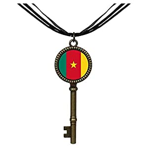 Chicforest Bronze Retro Style Cameroon flag Jewelry Vintage Key Pendant