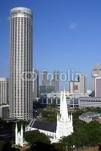 Singapore skyline, Stamford, Suntec C (4605815), lino, 30 x 50 cm
