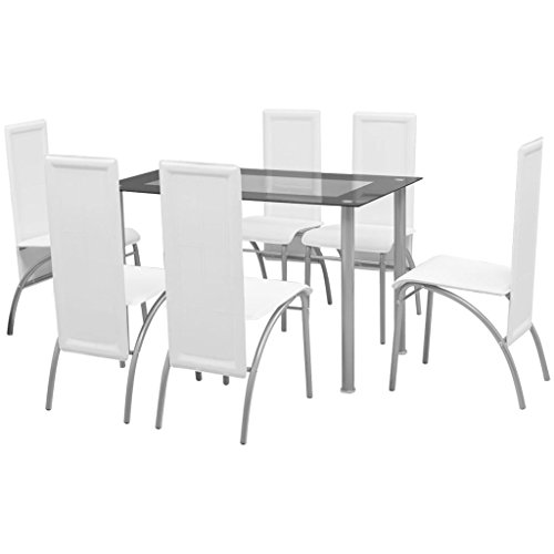 Festnight 7 Piece Dining Table Set with 6 Chair Home Kitchen Breakfast Furniture Table and Chairs White (Glass White 6 Chairs And Table Dining)