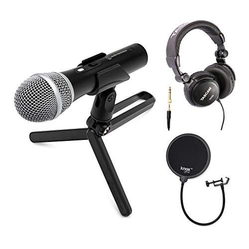 Audio-Technica ATR2100X-USB USB/XLR Microphone Bundle with Knox Gear Pop Filter and TH-03 Headphones (3 Items)