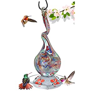 Grateful Gnome - Hummingbird Feeder - Hand Blown Glass - Gnarly Glass Neck Gourd