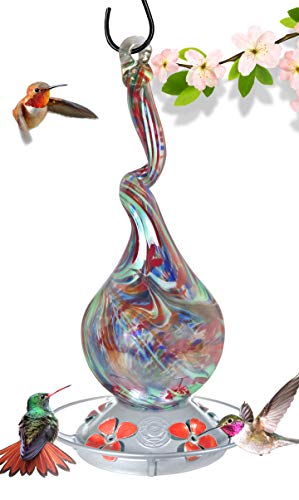 (Grateful Gnome - Hummingbird Feeder - Hand Blown Glass - Gnarly Glass Neck Gourd - 16 Fluid Ounces)
