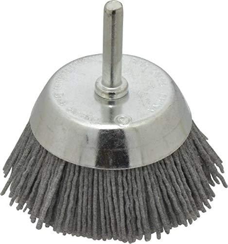 Dico - 2-1/2'' Diam, 1/4'' Shank Diam, Nylon Fill Cup Brush - Aluminum Oxide Abrasive Material, 0.05 Wire Diam (5 Pack)