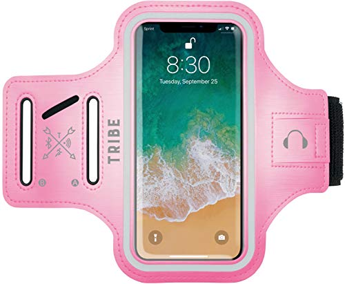 (TRIBE Water Resistant Cell Phone Armband Case for iPhone Xs Max, XR, 8 Plus, 7 Plus, 6 Plus, 6S Plus, Samsung Galaxy S9 Plus, S8 Plus, A8 Plus, Note 4/5/8/9 with Adjustable Elastic Band & Key Holder )