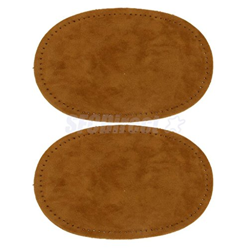 Pair Sew-On Fabric Oval Elbow Knee Patches Sweater Trousers Repair Craft Supply Brown by sfcdirect