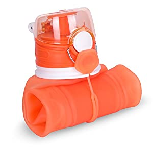 ZOADLE Reusable Collapsible Water Bottles - 1 Litre (35 oz), BPA Free, FDA Approved, Leak Proof, Wide Mouth, Flip top, Portable Silicone Sports Water Bottles, for Travel/Outdoors/Exercise (Orange)